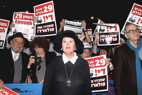 Esther Pollard, wife of convicted spy Jonathan Pollard, during a protest rally near the US embassy Tel Aviv calling for Jonathan Pollard's release, February 23, 2014.
