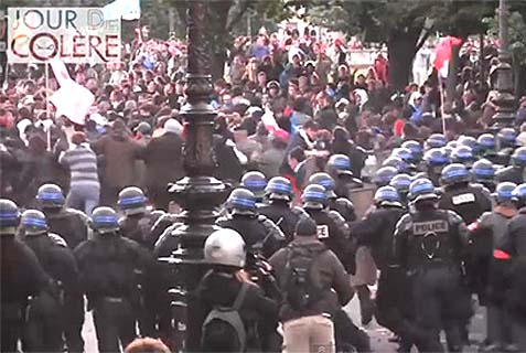 "Police charge a crowd of rioters at the January 26 ""Day of Wrath"" protests."