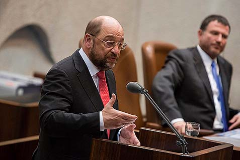 President of the European Parliament Martin Schulz sharing with the Knesset the facts he learned about the region from his hosts in Ramallah. At last a public official dares to blur the difference between truth and complete fabrication and turn that into policy. Of course, some of the Jews in the Knesset were not happy to hear horrible lies about them again, and in German, too.