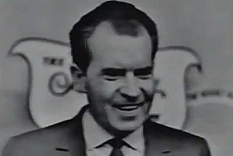 "Nixon at his so-called ""last press conference"" in 1962."