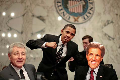 U.S. Senator Barack Obama poses alongside Hagel and Lugar at a Senate Committee in Washington