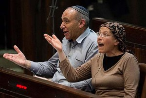 Jewish Home MKs calling Schultz's lie, moments before they stood up and left the plenum in disgust. Photo by Flash 90.