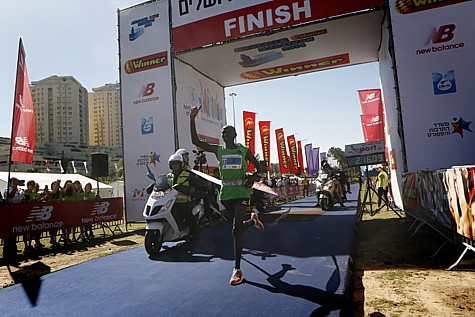 The Jerusalem Marathon Winner: Ronald Kimeli Kurgat. Photo by Miriam Alster/ Flash90