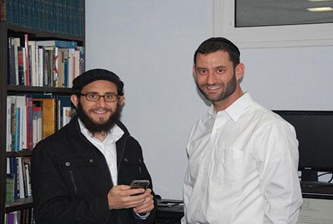 Yaakov Lehman (left) and Rabbi Joel Padowitz, co-founders of the Israel App.  (Credit: Barry A. Kaplan)