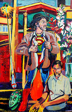 "House of El, 2013, 75"" x 45"" acrylic on canvas and panel, by Joel Silverstein Courtesy the artist"