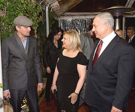 El primer ministro Israelí, Sara, Leonardo DiCaprio. Photo by Avi Ohayon/GPO/Flash90