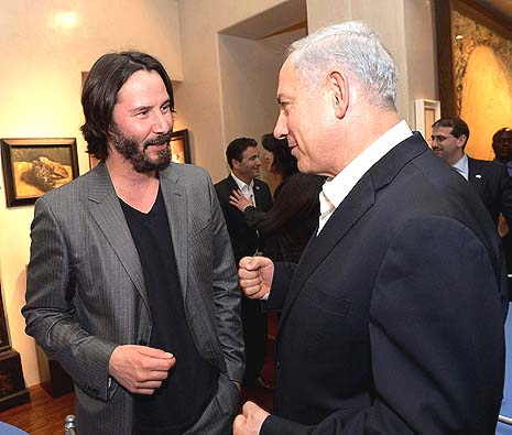 El primer ministro Israelí y Keanu Reeves. Photo by Avi Ohayon/GPO/Flash90