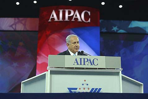 Prime Minister Benjamin Netanyahu speaking at the AIPAC policy conference in Washington DC in 2014.
