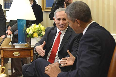 Netanyahu looking exceptionally cheerful in the Oval Office Monday. Maybe the reason is his hosts are way too busy with Crimea to worry if some Jew in East Jerusalem is closing a porch (counts as settlement construction).