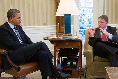 President Barack Obama in an interview with Jeff Goldberg in the Oval Office, Feb. 27, 2014. The language he used to describe Israel's needs for a 2-state solution was the tired, old leftist dogma circa 1993.