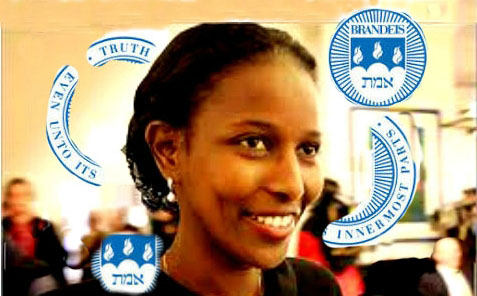 Ayaan Hirsi Ali with parts of the Brandeis University seal.
