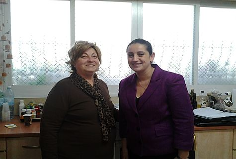 Ahuva Guterman and Christina Samara in Guterman's home in Jerusalem after a challah-baking workshop.