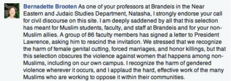 Facebook post by Brandeis Near Eastern and Judaic Studies Department prof. Bernadette Brooten.