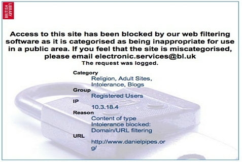 Notice that pops up if you enter DanielPipes.org in the British Library catalogue system.