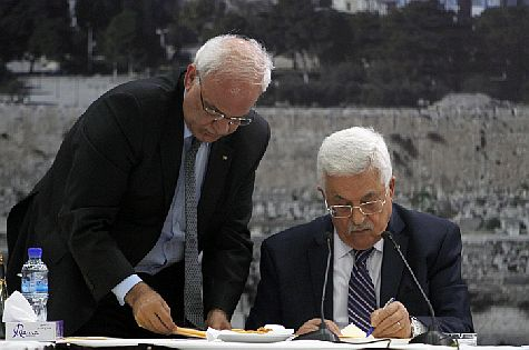 Peace partners for hate: Palestinian Authority Chairman Mahmoud Abbas (R)  and new PLO chief Saeb Erekat.