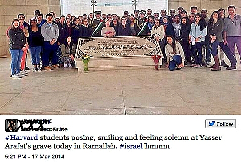 Harvard Students on a Harvard Federation and Harvard Hillel funded trip at Yasser Arafat's grave in Ramallah.