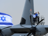 """From the Left: Maj Gen Amir Eshel, Commander of the Israel Air Force; Minister of Defense, Mr. Moshe (Bogie) Ya'alon; the Chief of the General Staff, Lieutenant General Benjamin (Benny) Gantz at the new """"Samson"""" inauguration ceremony, Wednesday, April 9."""