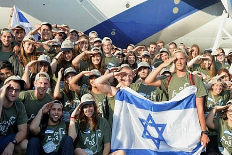 "Israeli pride exhibited by the ""Soldier Aliyah Flight 2013."""