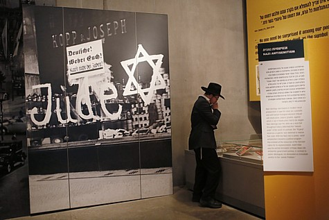 A Haredi visitor at the Yad Vashem Holocaust Museum in Jerusalem.