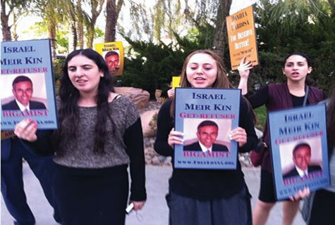 Protesters at Meir Kin's wedding