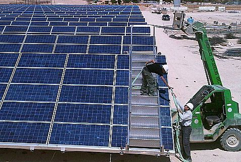 Solar panels at Kibbutz Ketura's Arava Power Company.