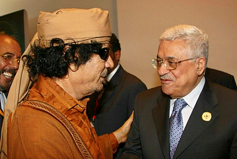 Acting Palestinian Authority leader Mahmoud Abbas with former Libyan dictator Moammar Gaddafi, in June, 2008.