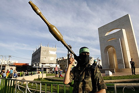Gazan terrorist with a rocket. (archive)