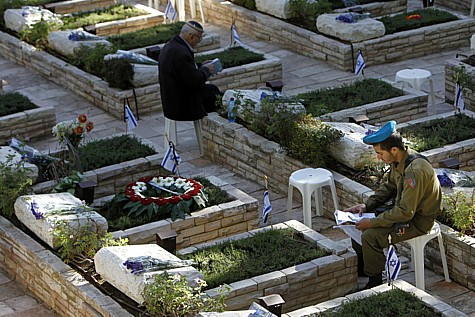Graves in the Mount Herzl Military Cemetery.