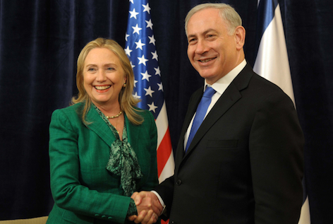 Secretary of State Hillary Clinton with Prime Minister Netanyahu in 2012.