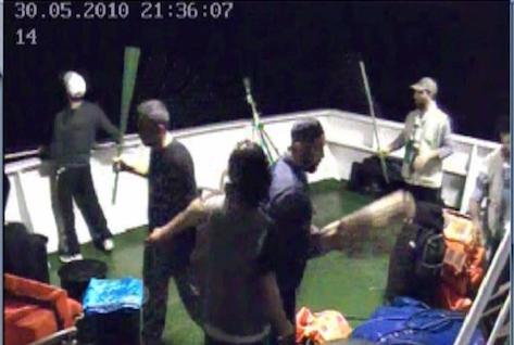 """Humanitarian"" activists prepare weapons on the deck of the Mavi Marmara"