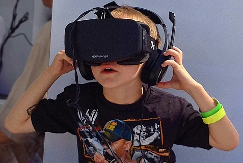 Boy wearing Oculus Rift