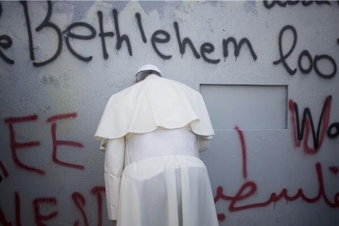 Pope Prays at last line of defense against Palestinian suicide. bombers.