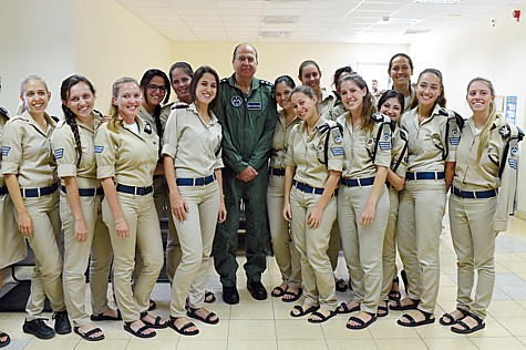 "Defense Minister Moshe ""Bogie"" Yaalon and his soldiers  at the ""Arrow II"" missile intercept launcher site at the Palmachim Israel Air Force base."