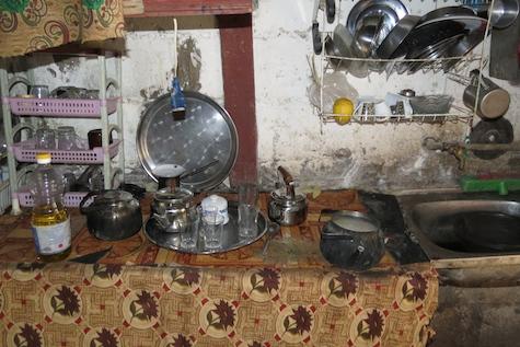 Kitchen in Palestinian refugee camp, Jordan