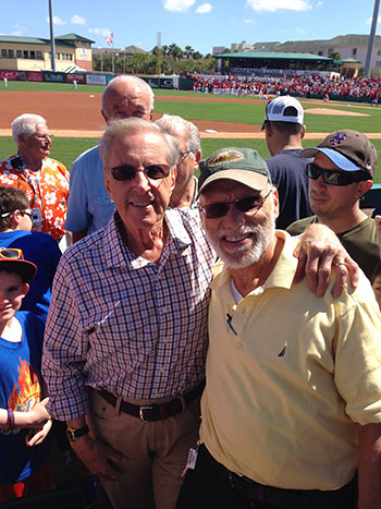 Mets owner Fred Wilpon (left) enjoys a moment in the sun with Avrohom Lubinsky.