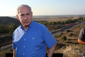 Prime Minister Netanyahu surveys the Gaza Strip from Sderot, 2010