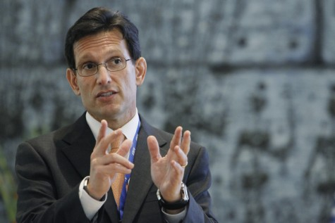Congressman Eric Cantor seen prior to a meeting with Shimon Peres in Jerusalem on August 13, 2013.