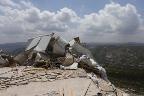 One of Yitzhar's building destroyed by the government. The demolition set off an angry response by local residents.