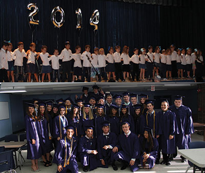 Hebrew Academy's youngest 2014 graduates (above) and this year's graduating high school seniors (below).