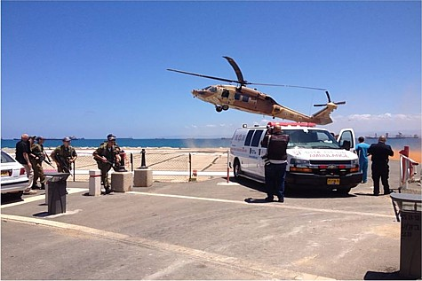 Medivac helicopter lands at Rambam Hospital in Haifa