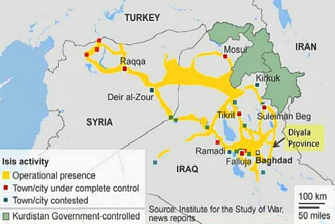 Map of ISIS in Iraq