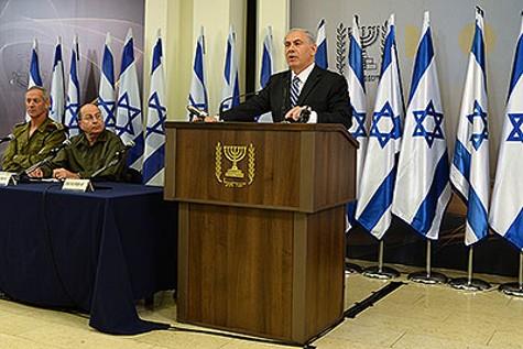Prime Minister Netanyahu addressing reporters.