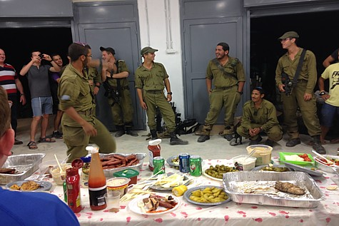 Soldiers participating in the search for Eyal, Gilad and Naftali are hosted by the residents of Efrat. Photo by Yael Abromowitz