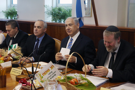 Prime Minister Binyamin Netanyahu speaks during the weekly cabinet meeting