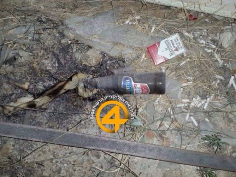 One of the Molotov Cocktails thrown at the Beit Orot Yeshiva in Jerusalem. (June 16, 2014)