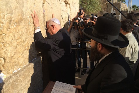 MK Reuven Rivlin at the Kotel after his election