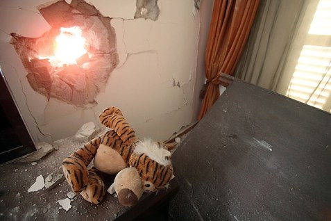 An Ashdod home hit on July 14, 2014 by a Hamas rocket from Gaza.
