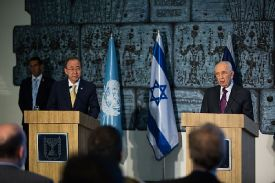UN Secy-Gen Ban Ki-moon and outgoing Pres. Shimon Peres. Wednesday July 23 2014