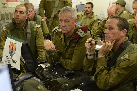 IDF Chief of Staff, Benny Gantz visits near the border with the Gaza Strip, on July 26, 2014.