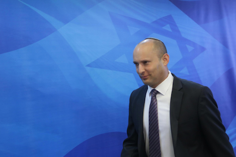 Naftali Bennett arrives at the weekly cabinet meeting,
